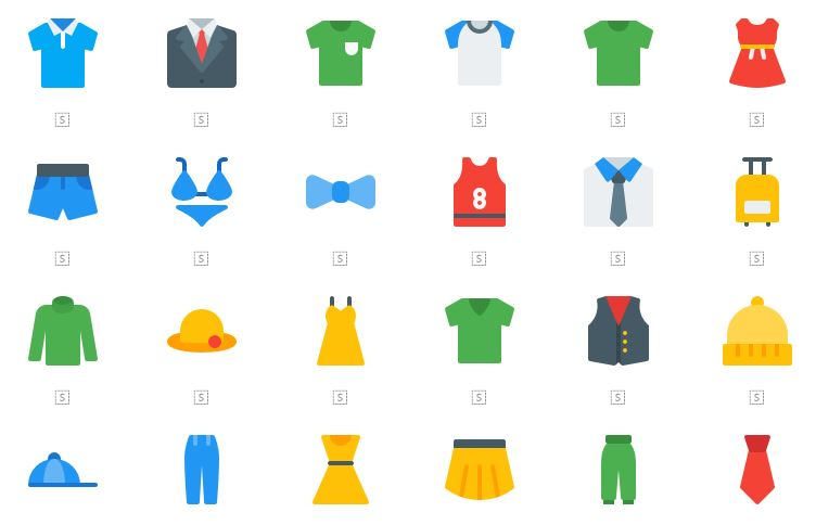 60 Clothes & Accessories Icons Set Free Download