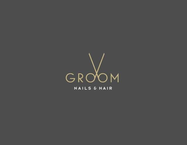 hair saloon creative logo, barber minimal logo