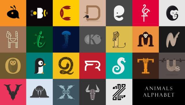 Designer Create Animals Clever Alphabetical Logos