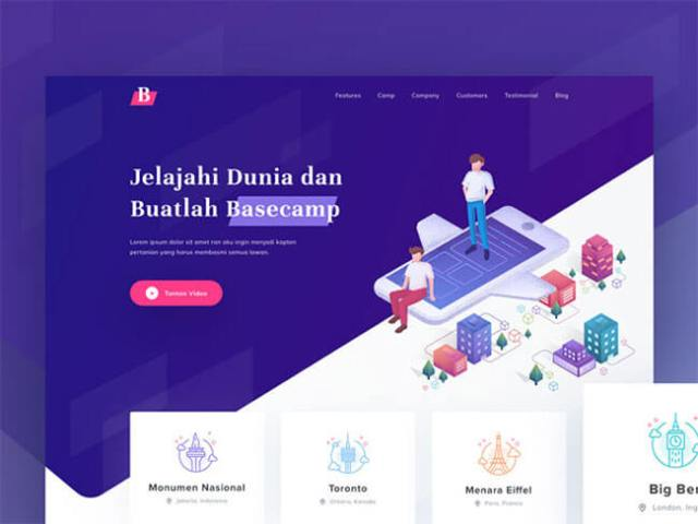 Isometric Illustrations landing page