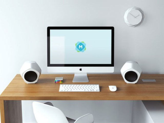 Free apple iMac mockup psds templates