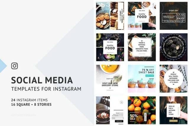 Instagram Food Post & Stories PSD Templates