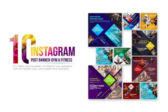 Instagram Fitness Post & Stories PSD Templates