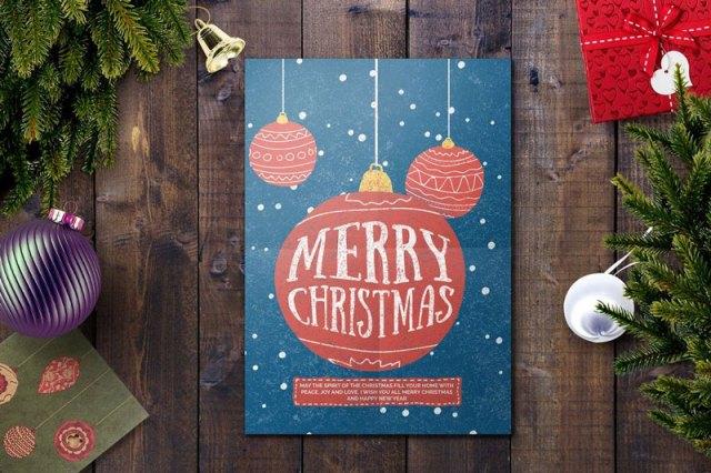 Minimal Christmas Card PSD Template