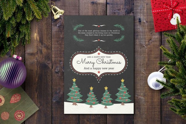 Elegant Christmas Card PSD Template