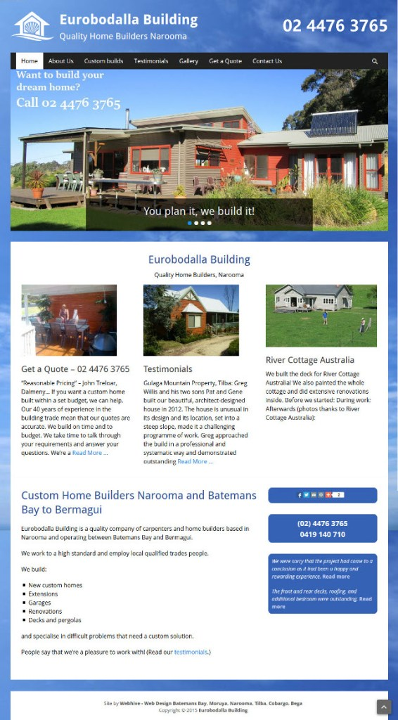 Webhive Website - Eurobodalla Building – New Home Builders