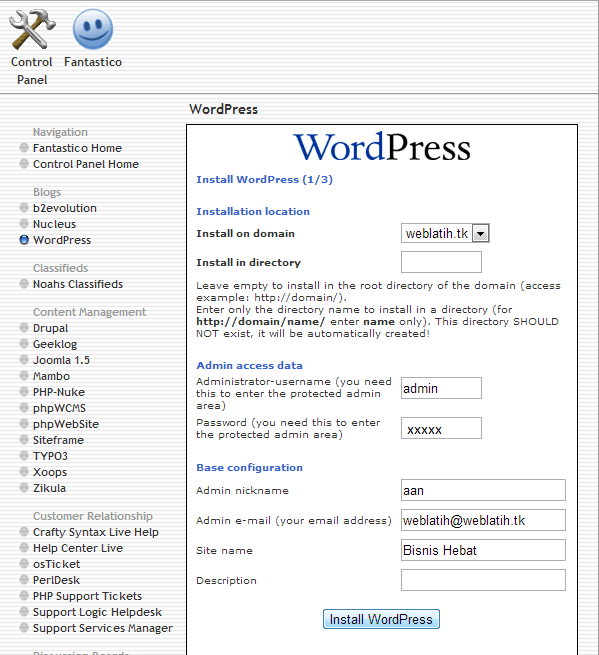 install wordpress, install wordpress via fantastico