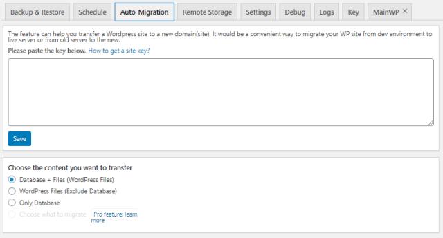 Backup Plugin Migration Tab