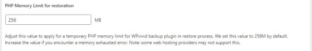 Advance Settings - PHP Restoration Limit