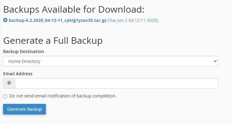 Generate Full Backup