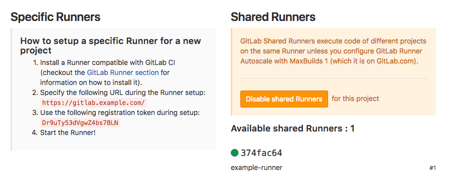 GitLab project-specific runners options