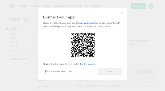 Screenshot of the Connect your app screen