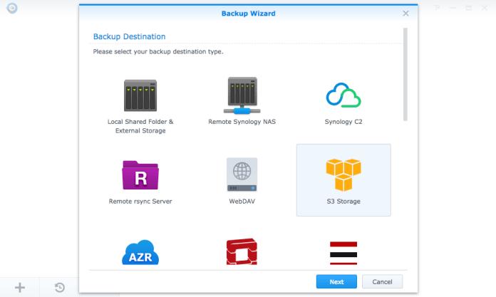 Hyper Backup's Backup Wizard opening screen listing backup destinations