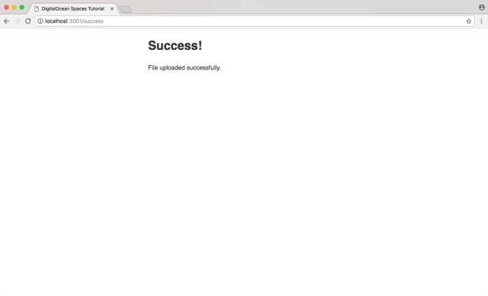 Success confirmation page following upload