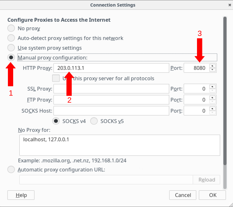 Image showing Firefox's connection settings panel with populated fields
