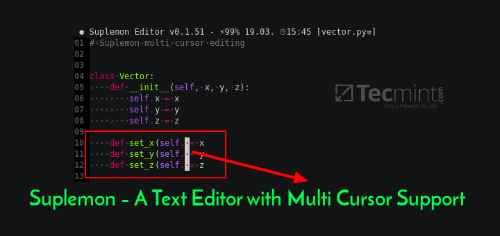 A Powerful Console Text Editor with Multi Cursor Support