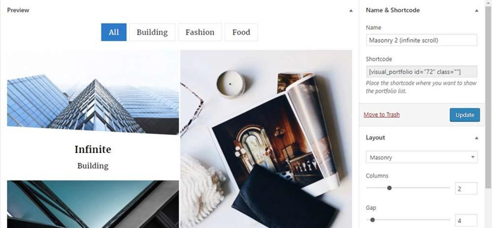 Visual portfolio plugin