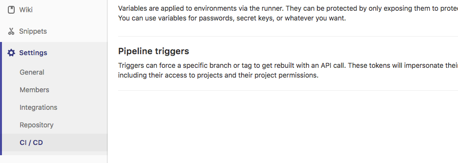 GitLab project settings menu