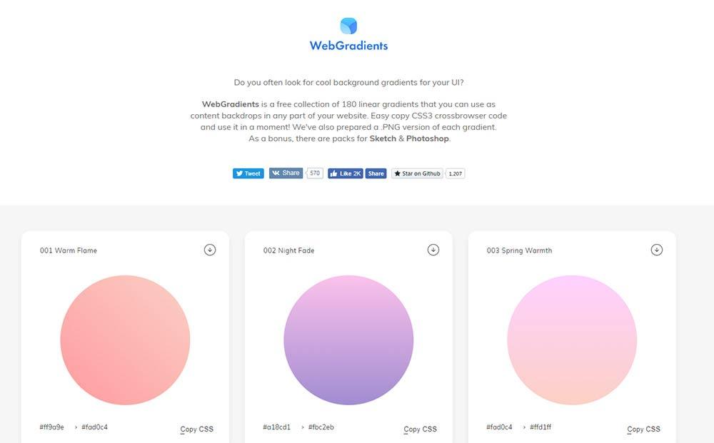 WebGradients homepage