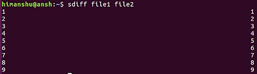 sdiff command result
