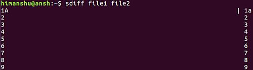 sdiff file1 file2