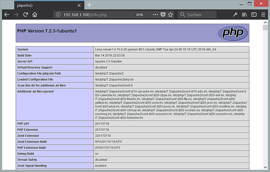 Ubuntu 18.04 PHP 7.2 info