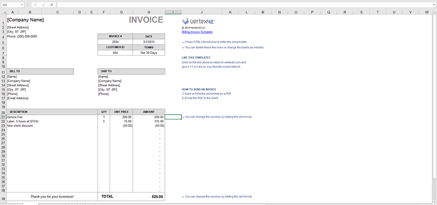 Two Billing Invoice Templates