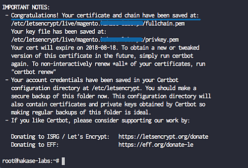 SSL cert issues successfully
