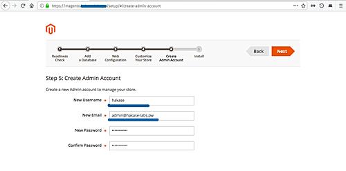 Setup the admin account