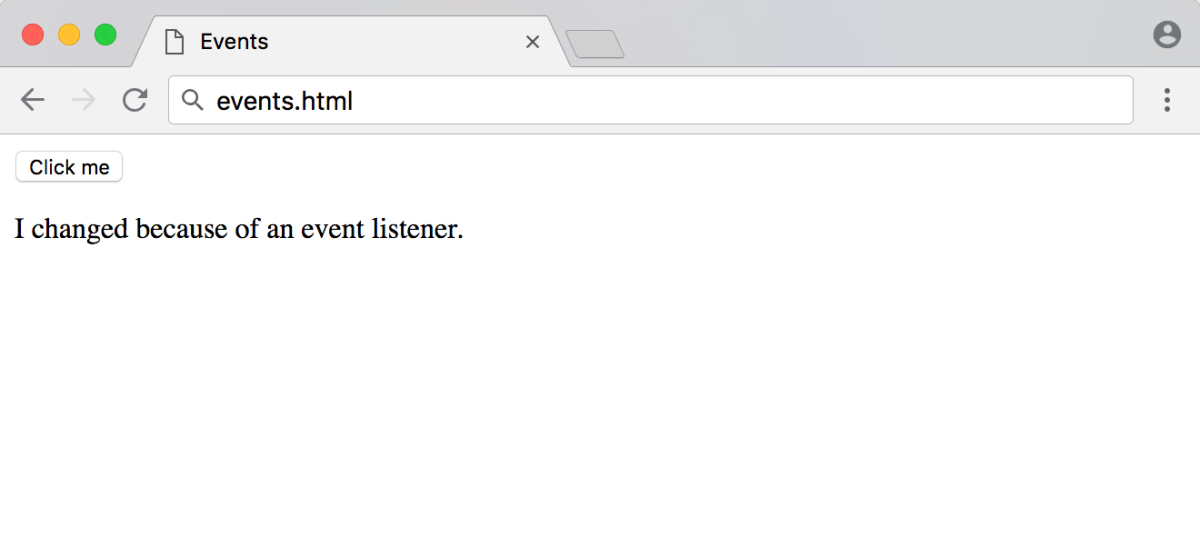 Event listener response of events.html