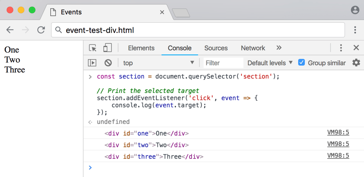 Second event object example