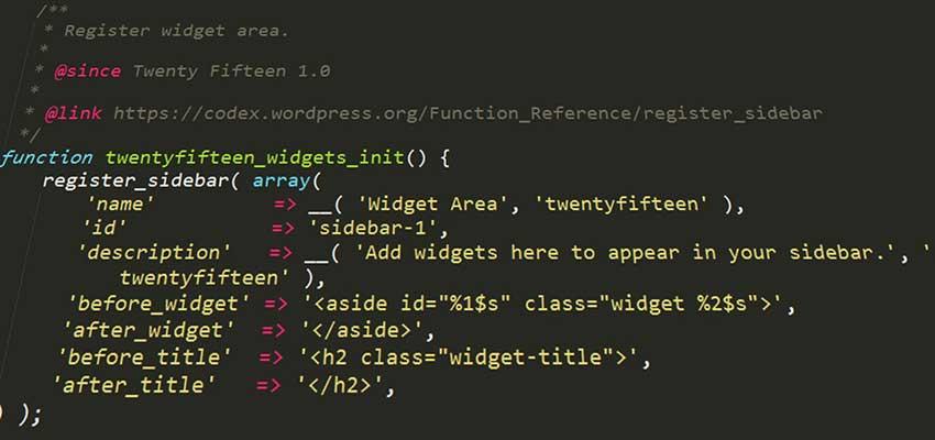 WordPress theme code