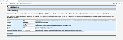 PowerAdmin database setup