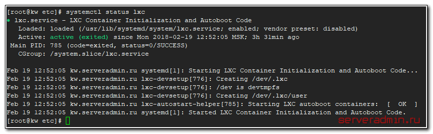 Launch lxc on centos 7