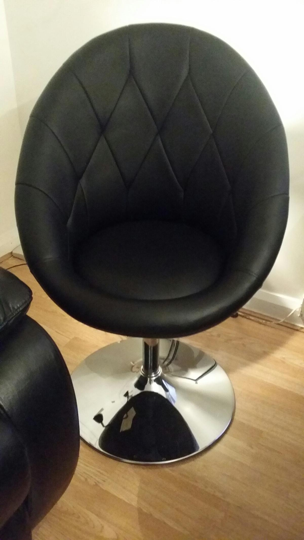 Black Faux Leather Swivel Chair In St3 Normacot For 70 00 For Sale Shpock