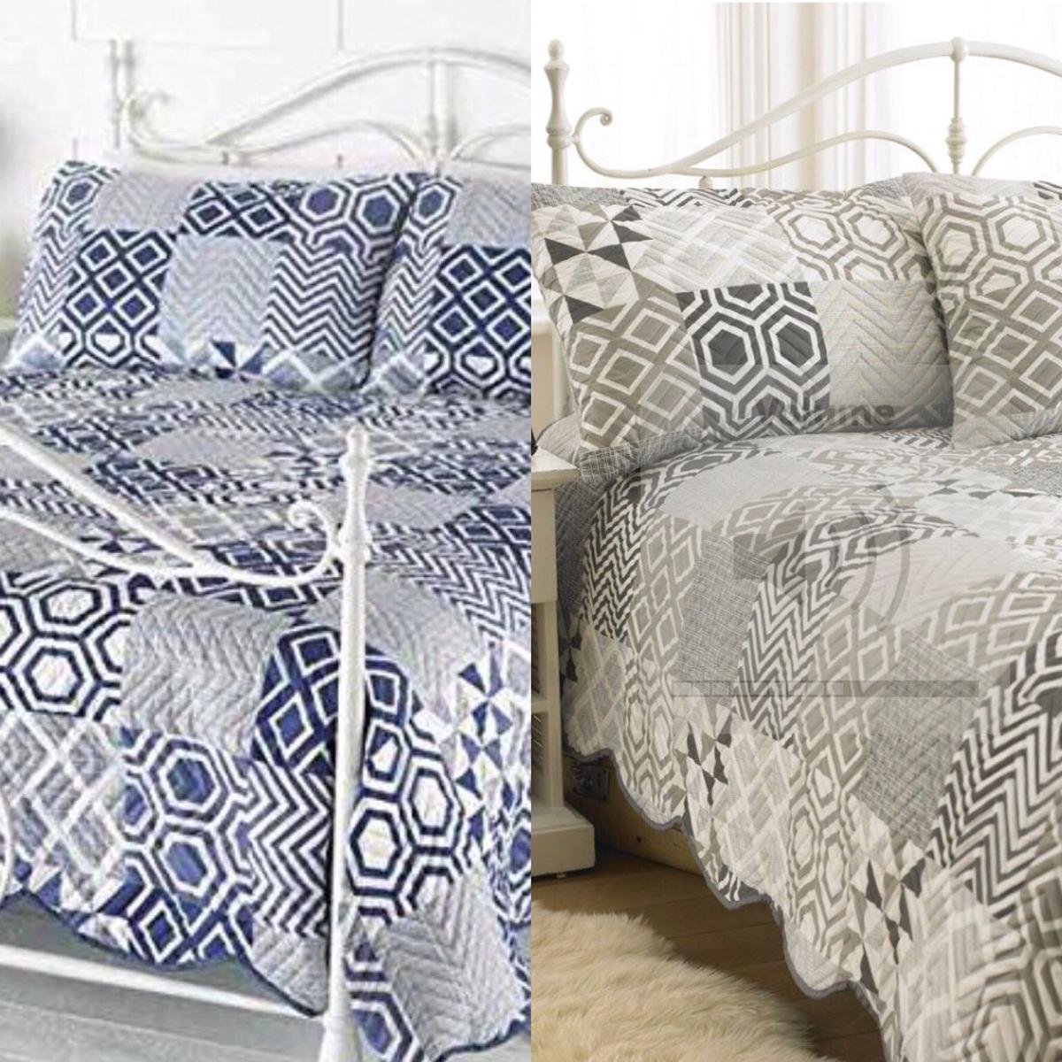 luxury quilted embossed bedspread throw