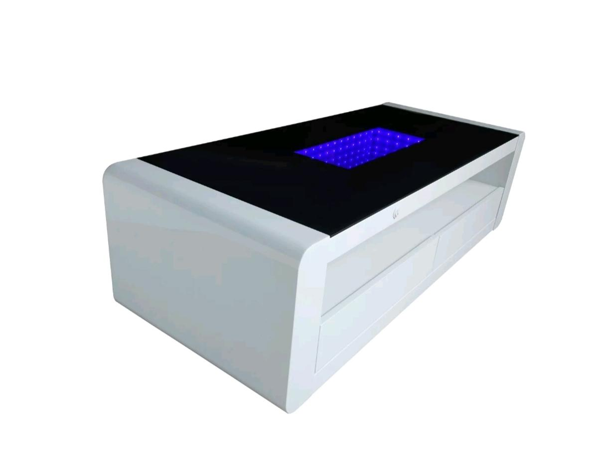led infinity coffee table high gloss in