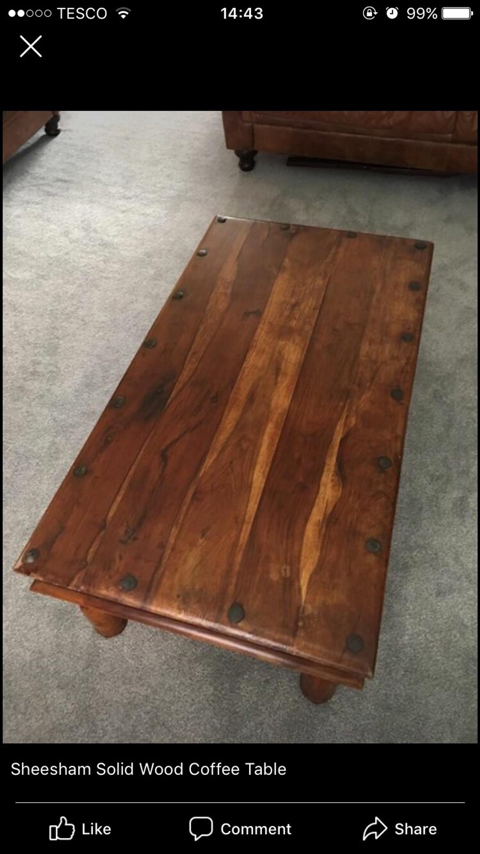 solid sheesham wood rustic coffee table