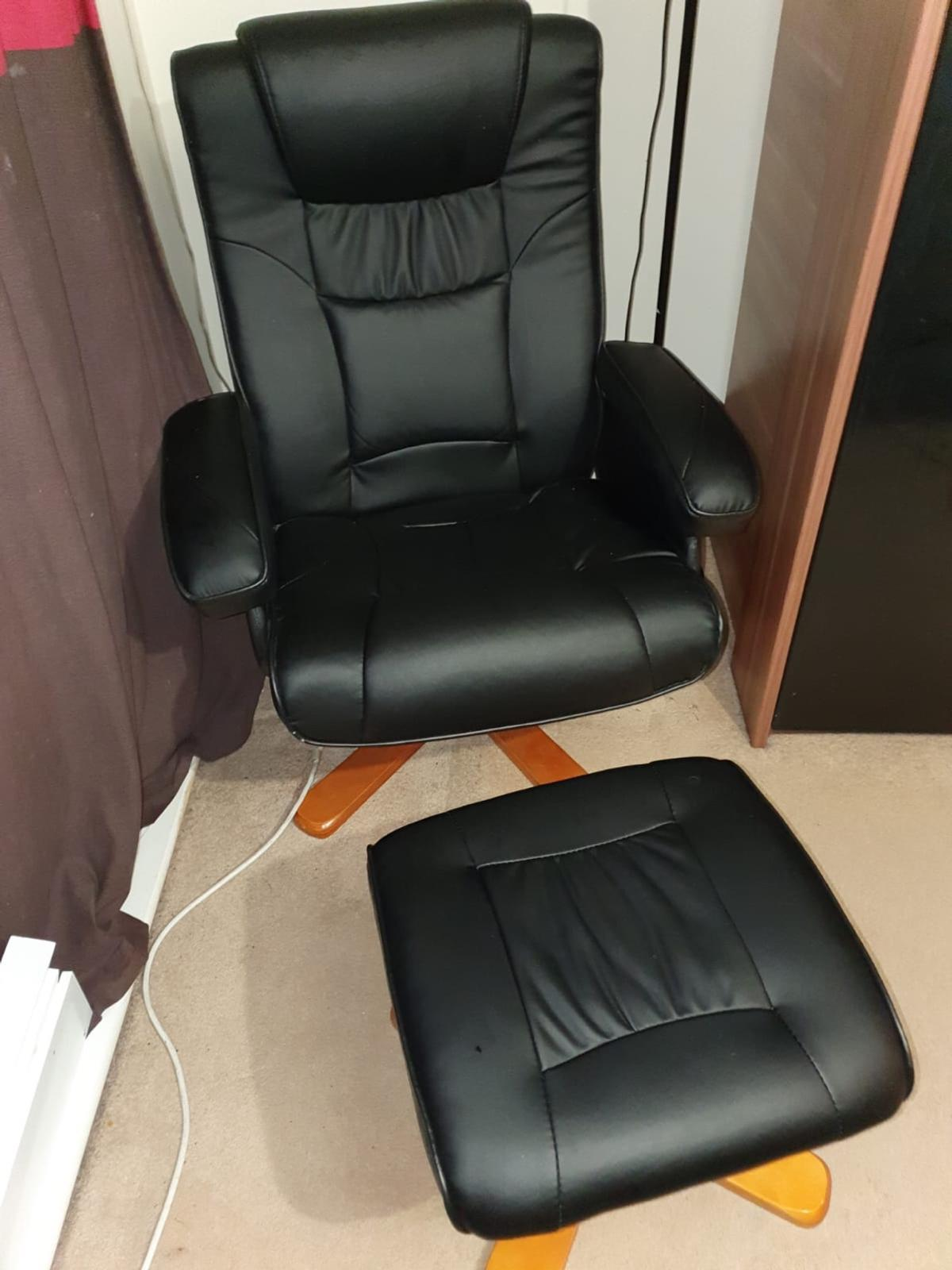 Black Faux Leather Swivel Chair Footstool In Se12 London For 50 00 For Sale Shpock