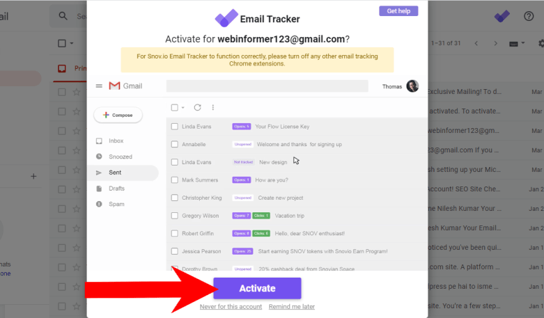 Activate Unlimited Email Tracker