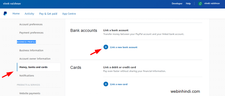 Link bank account in Paypal