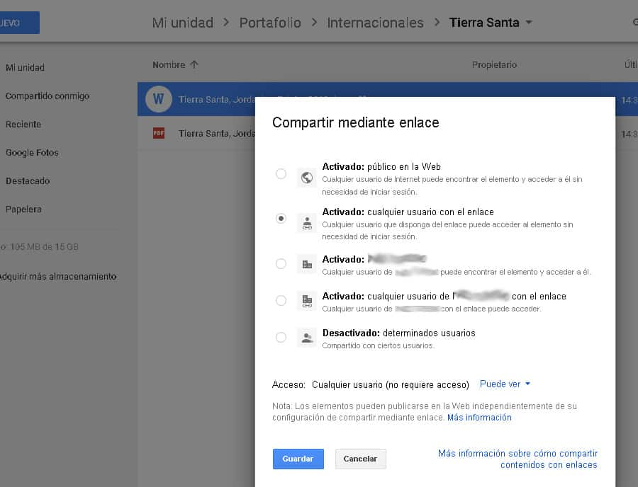 Configurar compartir en google drive