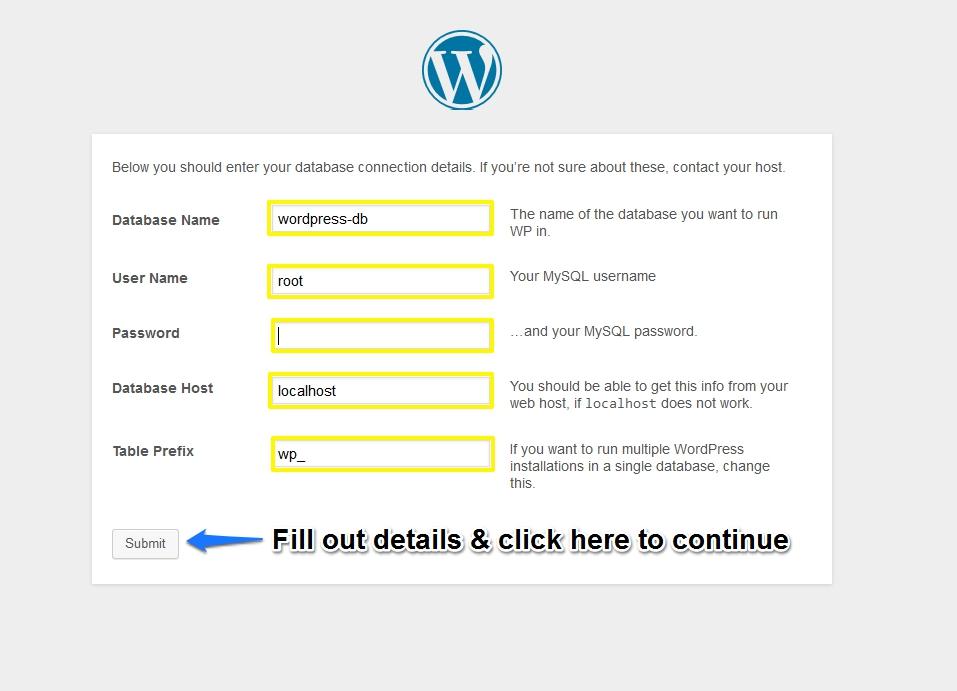 Third Screen of WordPress Installation