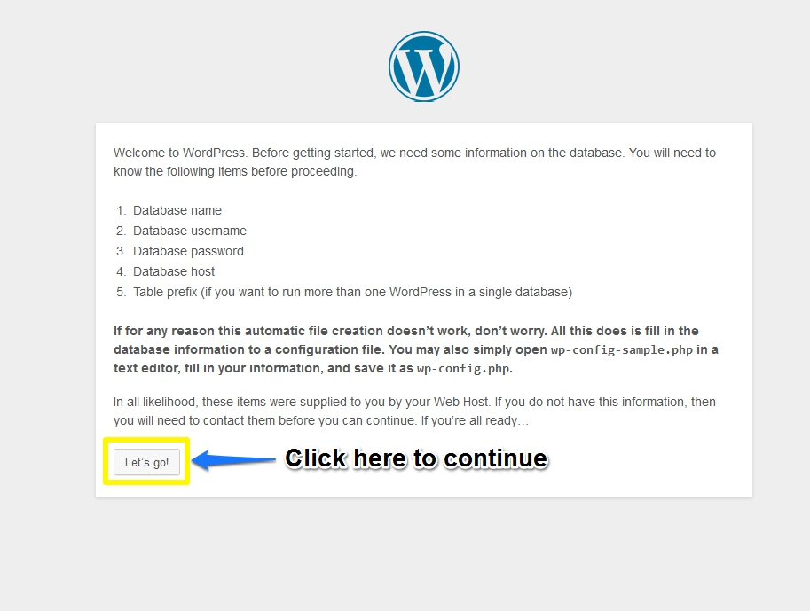 Second Screen of WordPress Installation