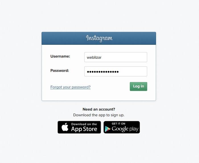 Instagram Login Form