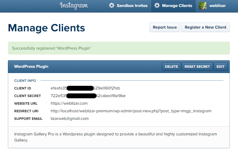 Image of instagram client id generated