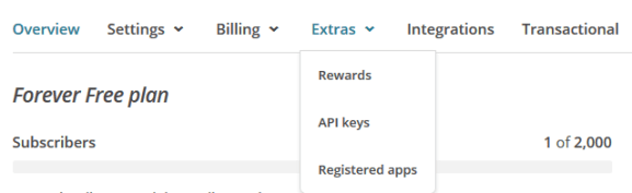 select extra link admin mailchimp