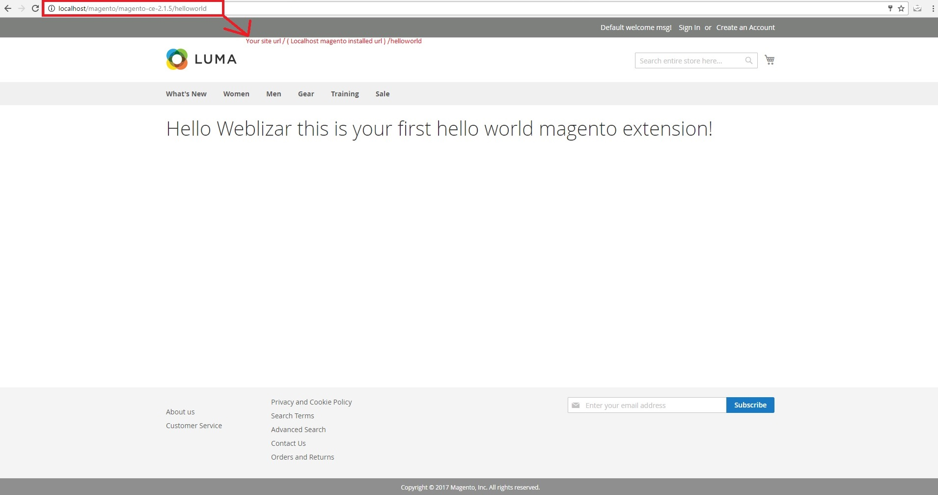 create an extension in magento output