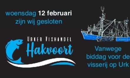 Urker Vishandel Hakvoort dag gesloten vanwege biddag voor visserij op Urk