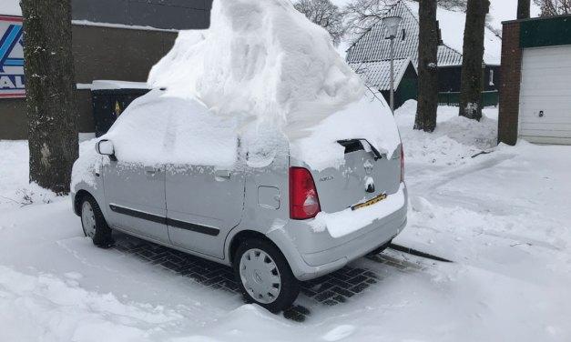 Sneeuw op 31 maart 2021 in Staphorst